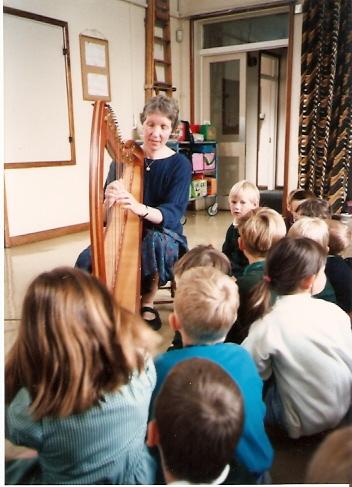 Wilburton school children listening to harp music