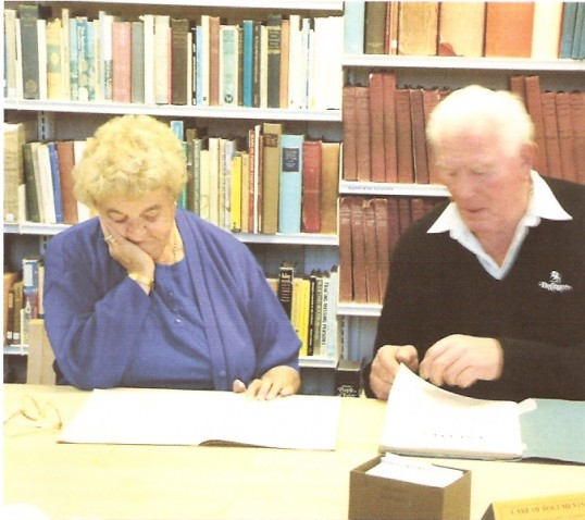 Studying  old papers on Wilburton village at Cambridgeshire Archives