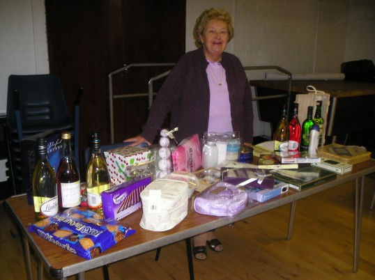 A photo of the draw prize table at St Peter's Club coffee morning Wilburton