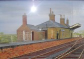 An artists impression of Wilburton railway station with Bill Nunn as station master