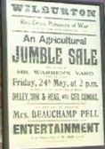 A bill of sale for an agricultural jumble sale in Mr Warren's yard in Wilburton