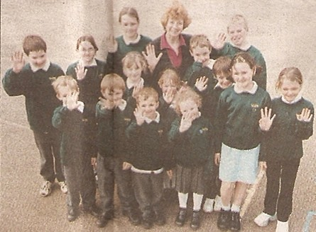 Wilburton school children with head mistress Mrs Mary Almond