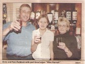 Landlord & landlady  with the helper at the Kings Head local pub