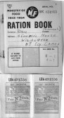 A copy of a wartime ration book and petrol coupon belonging to a member of the Day  family