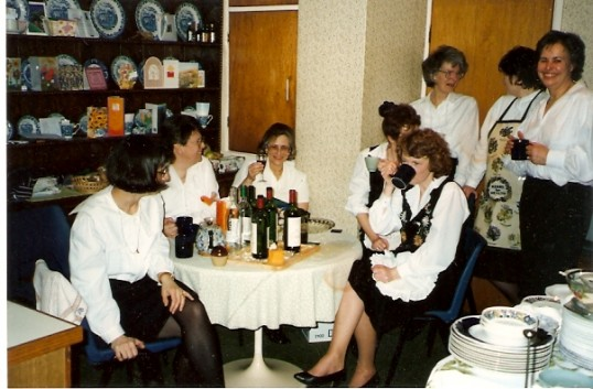 The Ladies  at the dinner party taking it easy