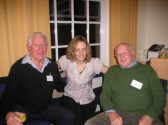 Gilly Vose of CCAN project at farewell party at the Shire Hall, Cambridge with Peter Warren & Gordon (Pop) Day from Wilburton group