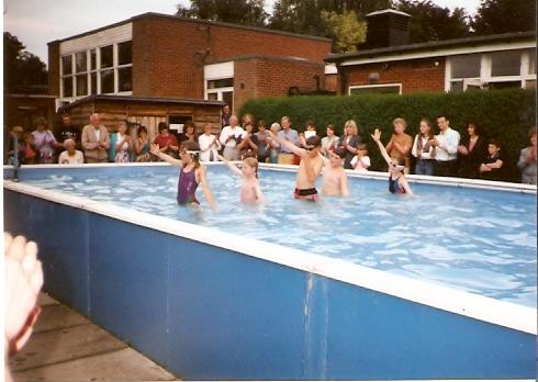 Wilburton school children enjoying the school swimming pool