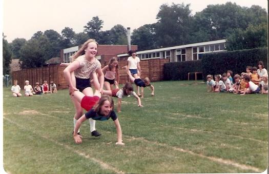 Sack- barrow race on sports day at Wilburton School