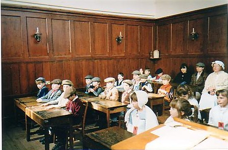 Wiburton School Children dressed  in the olden days costumes