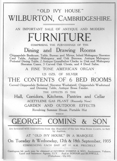 Furniture Sale At The Old Ivy House Wilburton 1935