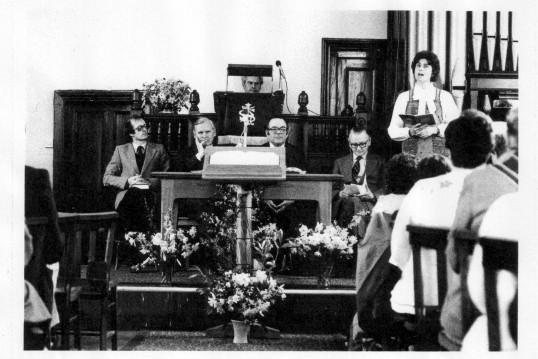 Congregation inside Wilburton Baptist Church