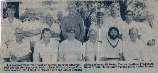 A group of Wilburton past cricketers.