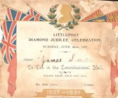 An invitation given to Mr Jim Smith (who lived in Wilburton) to go to Littleport Diamond Jubilee Celebration