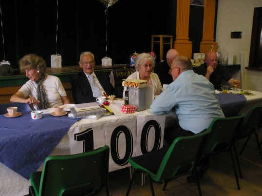 Frank Yarrow with some of the guests at his 100th birthday party