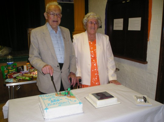 Frank Yarrow & Rene Bearcock at the party at St Peter's club Wilburton