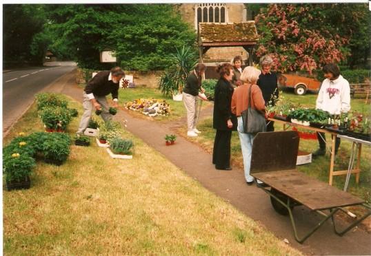 A plant stall outside Wilburton Church in 1995