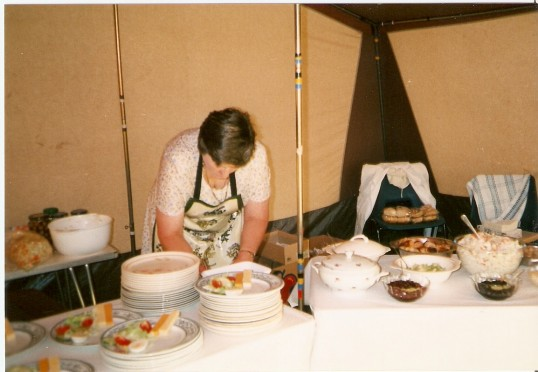 Getting ready to serve meals at the Church Festival 1996