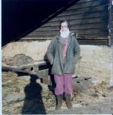 Beryl Sharp dressed ready for work on Bert Everitts farm