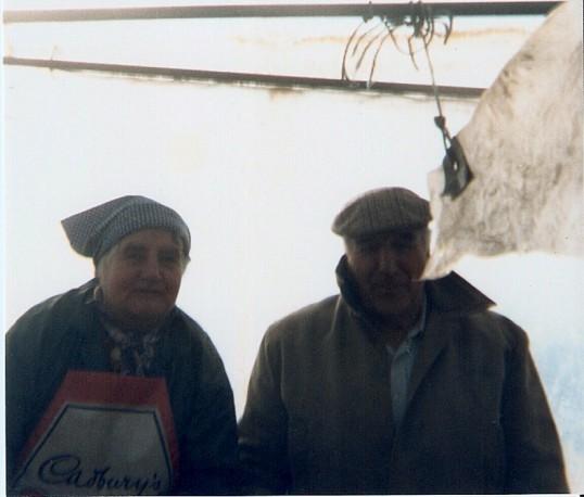 Mrs Yarrow & Bert Everitt  on the harvester