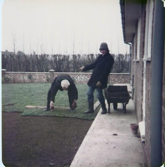 Frank Yarrow & Simon Cornwall laying a grass lawn