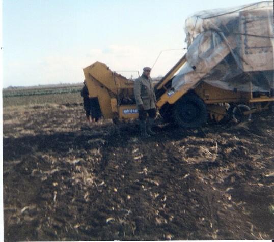 Bert Everitt with the potato harvester
