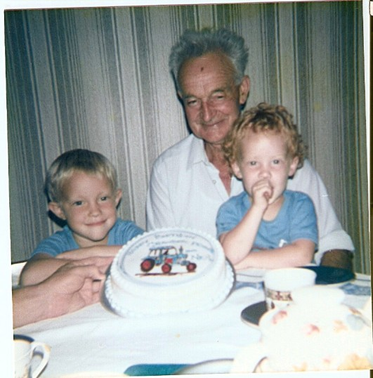 Frank Yarrow with  his grandsons  at the birthday  party