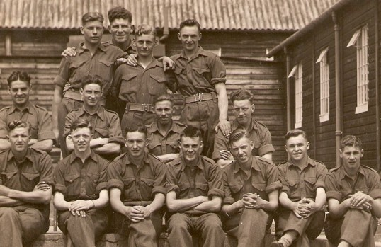 Gordon Day (Pop) with his regiment when he first joined the army stationed at Aldershot
