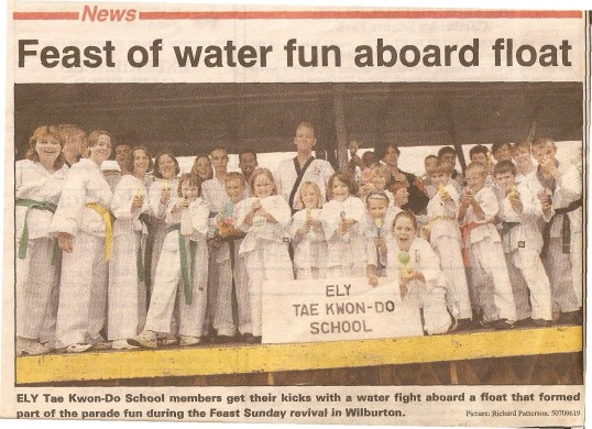 The Tae Kwon-Do  group  from Ely taking part in Wilburton feast parade