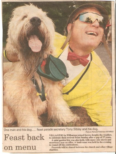 Feast parade, reinstated after a gap of 17 years, with secretary Tony Silbley and dog.