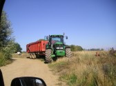 A tractor waiting to collect corn after Adrian Furness has combined it