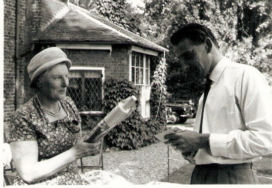 Mrs Janie Gothard & Mr Grenville, played by Michael Shaw, at the garden fete in Mr Pell's garden