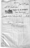 A bill for coal delivered to a M Everitt fo 5 bags of household coal costing 6 shillings