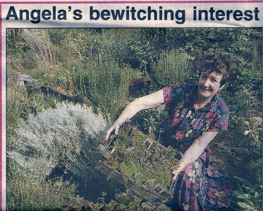 Angela Yates  of Wilburton sitting  amongst the herbs she grows in her garden
