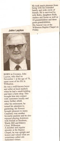 The Obituary of Mr Jack Layton  who was well known in the village of Wilburton