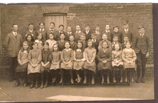 A  large group of children at Wilburton school in the 1900s