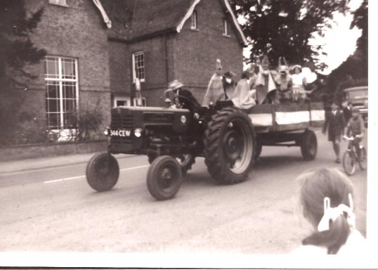 A tractor entered for the Sunday feast parade