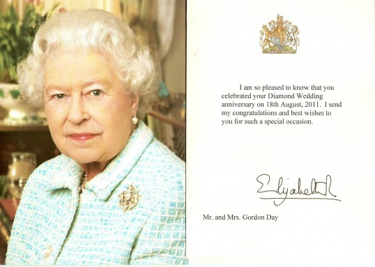 A card received by Pearl & Gordon Day from Her Majesty, The Queen on the celebration of there Golden Wedding on the 18th 08 2011