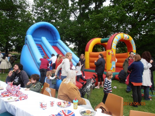 Bouncy Castle & Slide for the children at the Jubilee party