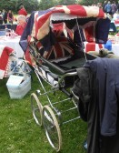 An old fashioned pram decorated for the Wilburton Jubilee party