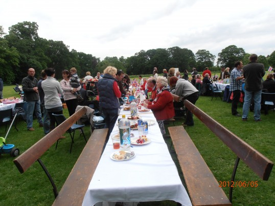One of the many tables laid out for people to have their jubilee tea