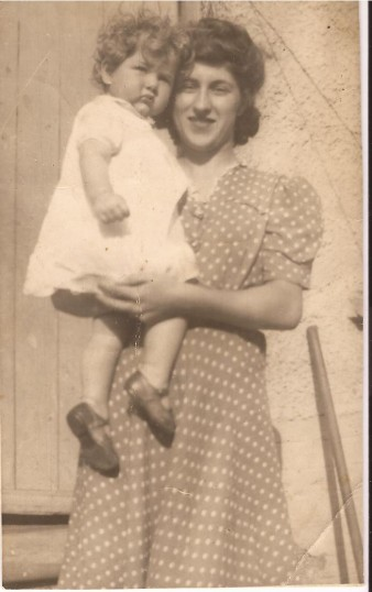 Mrs Rene Bearcock (nee) Smith holding her sister Angela  Smith in her arms