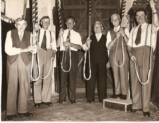 Bell ringers on Pauline Jones and Keith Furness' wedding day 12 July 1958 .