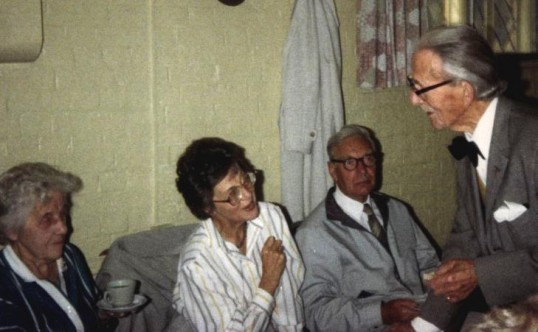 Dr Wolfendale Snr seen chatting to Frank & Joyce Neal & Margery Hunt.