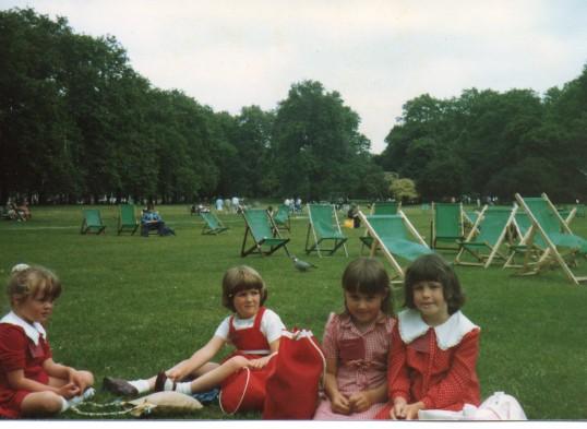 Wilburton school children on the playing field