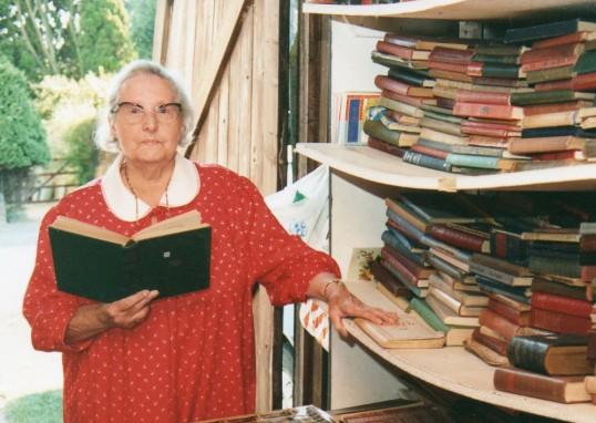 Ida Gothard of Wilburton in her book shop in which she raised money for the Wilburton church