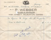 Bill from R. Webber to W. Gothard for bungalow repairs