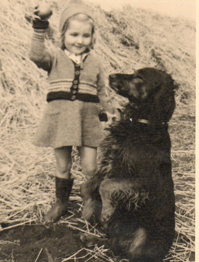 Seppings' farm Wilburton Joy Gothard and wooly the dog.