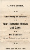 Service sheet, unveiling of the War Memorial window, Wilburton Church.