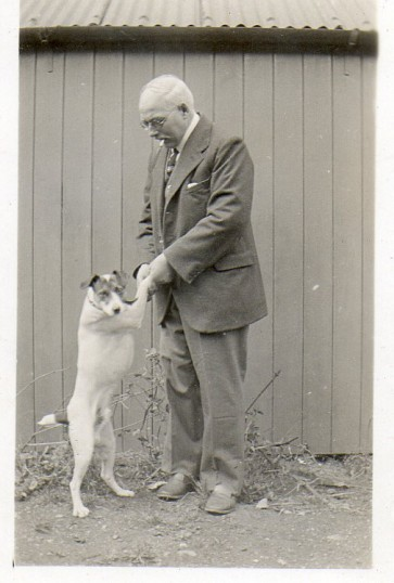 William Talbot at Wilburton with his dog.