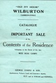 Sale catalogue of house contents for Miss Rose Camps of Wilburton.